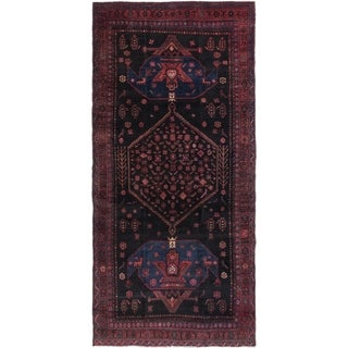 Hand Knotted Sirjan Semi Antique Wool Runner Rug - 4' 9 x 9' 9