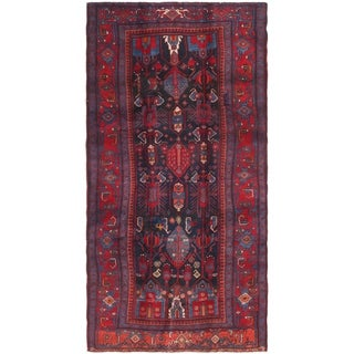 Hand Knotted Sirjan Semi Antique Wool Runner Rug - 4' 7 x 9' 4