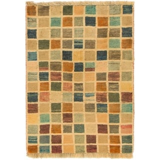 Hand Knotted Shiraz-Gabbeh Wool Area Rug - 2' 8 x 3' 8