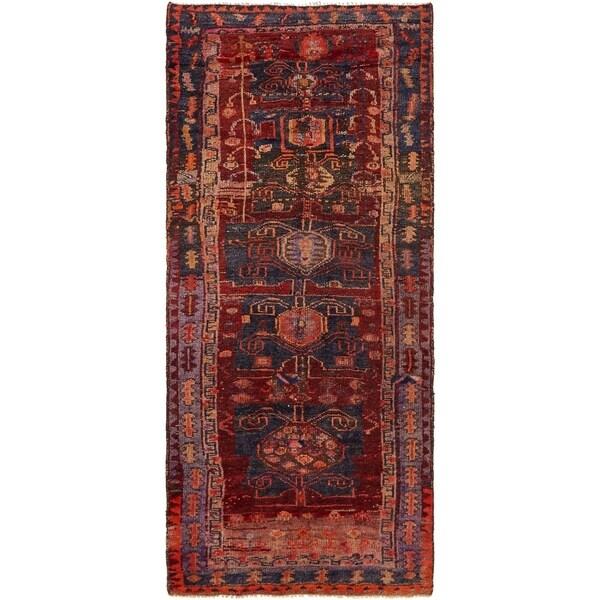Hand Knotted Shiraz-Lori Antique Wool Runner Rug - 3' 6 x 8'