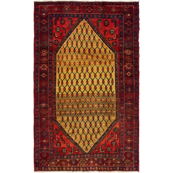 Hand Knotted Songhor Semi Antique Wool Area Rug - 4' 3 x 6' 7