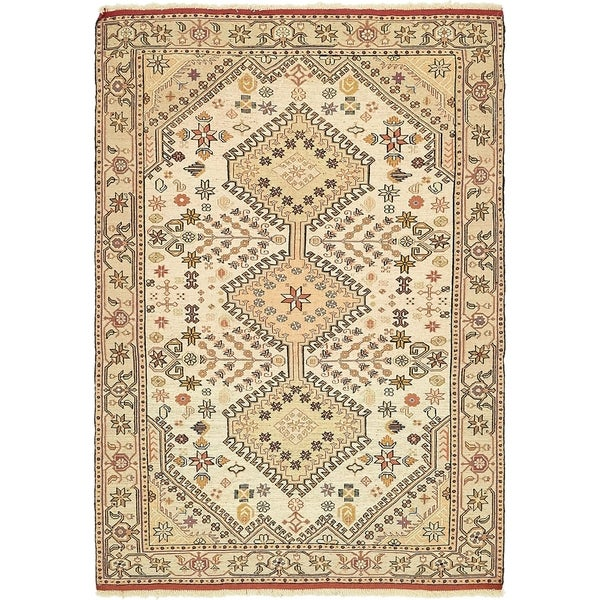 Hand Knotted Sirjan Wool Area Rug - 4' 2 x 6'