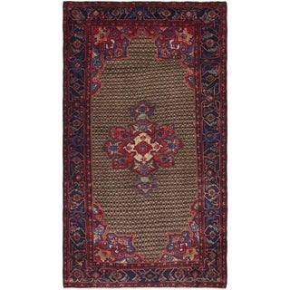 Hand Knotted Songhor Semi Antique Wool Area Rug - 4' 10 x 8' 10