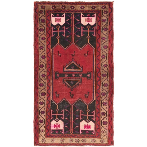 Hand Knotted Sirjan Antique Wool Area Rug - 4' 3 x 8'