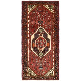 Hand Knotted Sirjan Semi Antique Wool Runner Rug - 4' x 9'