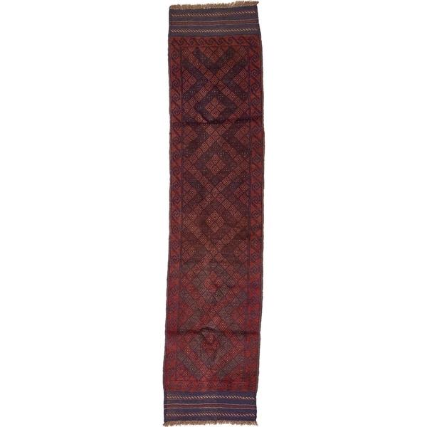 Hand Woven Sumak Wool Runner Rug - 1' 10 x 8' 1