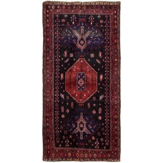 Hand Knotted Sirjan Semi Antique Wool Runner Rug - 5' x 10' 2