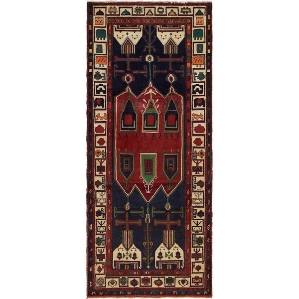 Hand Knotted Sirjan Antique Wool Runner Rug - 4' 2 x 10' 2