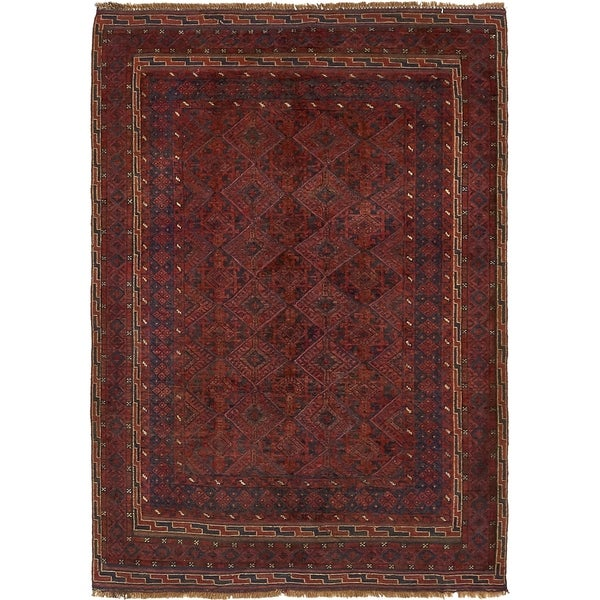 Hand Knotted Sumak Wool Area Rug - 4' 2 x 5' 10
