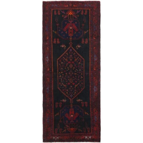 Hand Knotted Sirjan Semi Antique Wool Runner Rug - 5' x 12' 3