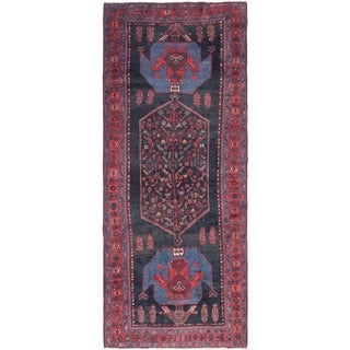 Hand Knotted Sirjan Semi Antique Wool Runner Rug - 5' x 12'