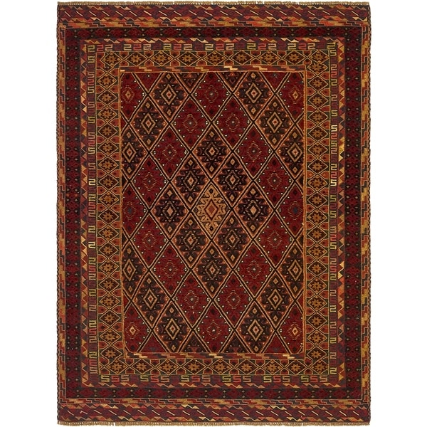Hand Knotted Sumak Wool Area Rug - 4' 8 x 6' 7