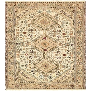 Hand Knotted Sirjan Wool Square Rug - 4' x 4' 5