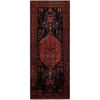 Hand Knotted Sirjan Semi Antique Wool Runner Rug - 4' 9 x 12' 3