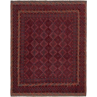 Hand Knotted Sumak Wool Area Rug - 5' x 6' 7