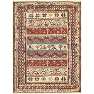 Hand Knotted Sirjan Wool Area Rug - 4' x 5' 4