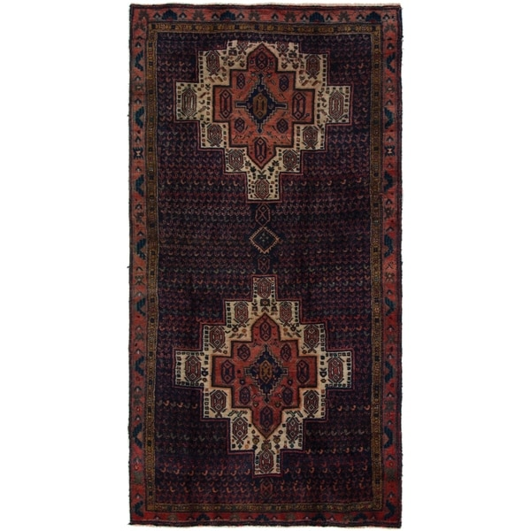 Hand Knotted Sirjan Semi Antique Wool Runner Rug - 4' 2 x 7' 10