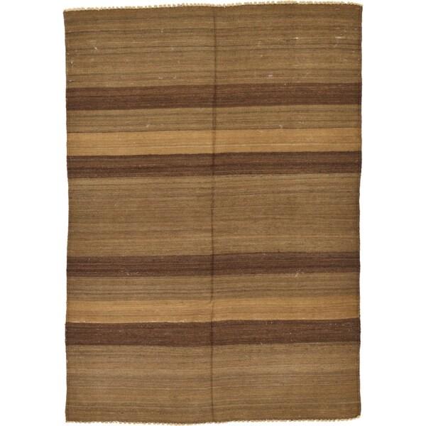 Hand Woven Striped Modern Kilim Wool Area Rug - 4' 1 x 5' 9