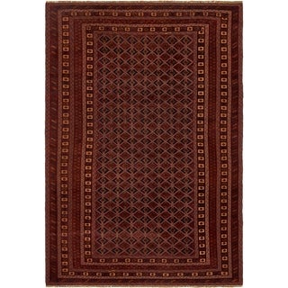 Hand Knotted Sumak Wool Area Rug - 6' 4 x 9' 3