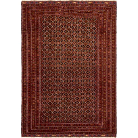 Hand Knotted Sumak Wool Area Rug - 6' 8 x 9' 6