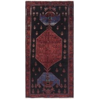 Hand Knotted Sirjan Semi Antique Wool Runner Rug - 4' 10 x 10' 4