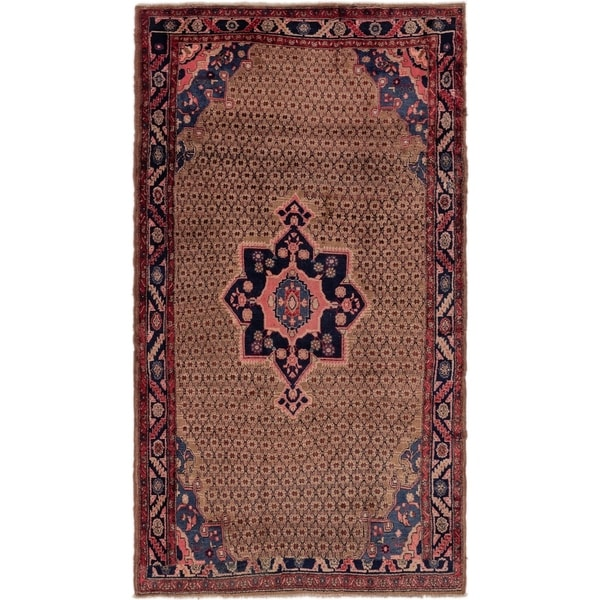 Hand Knotted Songhor Semi Antique Wool Area Rug - 5' 2 x 9' 2