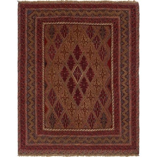 Hand Knotted Sumak Wool Area Rug - 4' 10 x 6' 2
