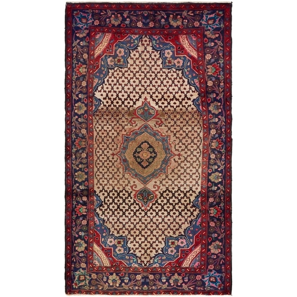 Hand Knotted Songhor Semi Antique Wool Area Rug - 4' 10 x 8' 8