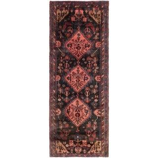 Hand Knotted Sirjan Semi Antique Wool Runner Rug - 3' 7 x 9' 5