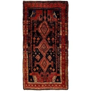 Hand Knotted Sirjan Semi Antique Wool Runner Rug - 4' 5 x 9'