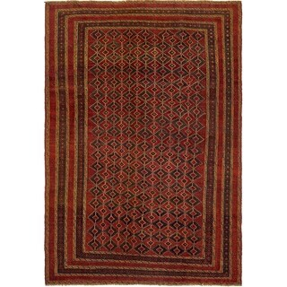 Hand Knotted Sumak Wool Area Rug - 6' 2 x 9'