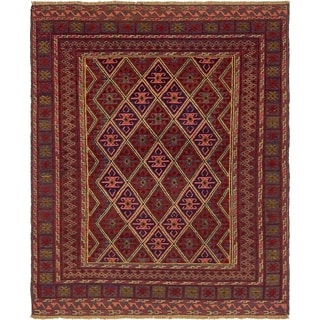 Hand Knotted Sumak Wool Area Rug - 4' 6 x 5' 9