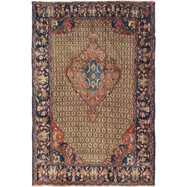 Hand Knotted Songhor Antique Wool Area Rug - 5' 8 x 8' 7