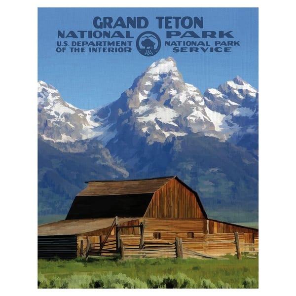 Shop Black Friday Deals On Fine Art Canvas Grand Teton Ii National Park Poster By Purple Moose Basics Canvas Art Overstock 24069950