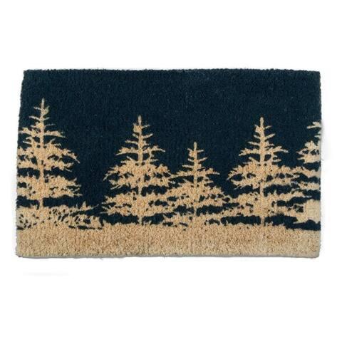 TAG Winter Tree Coir Mat Midnight Blue