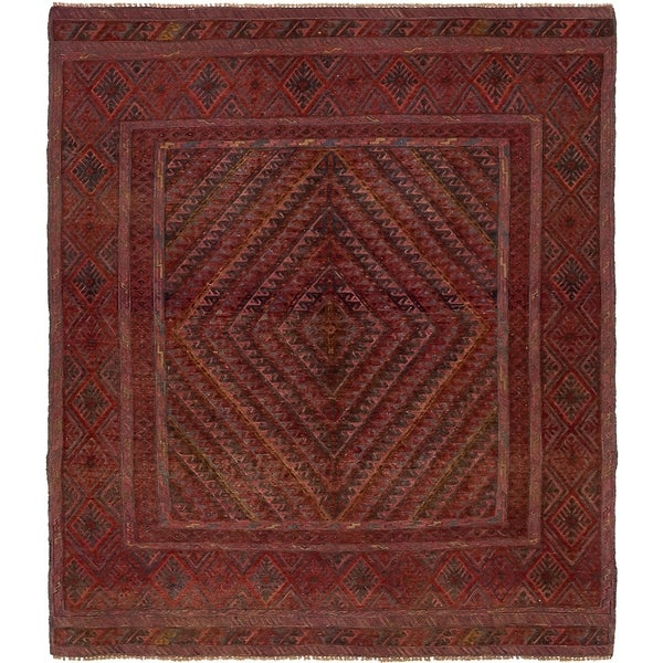 Hand Knotted Sumak Wool Area Rug - 5' 2 x 6' 2