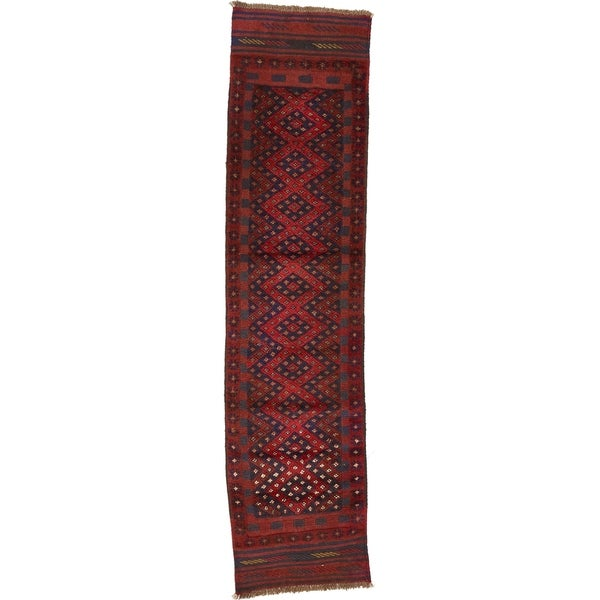 Hand Woven Sumak Wool Runner Rug - 1' 10 x 7' 8