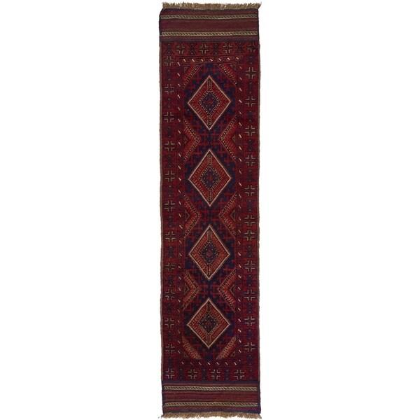 Hand Woven Sumak Wool Runner Rug - 2' x 8' 4