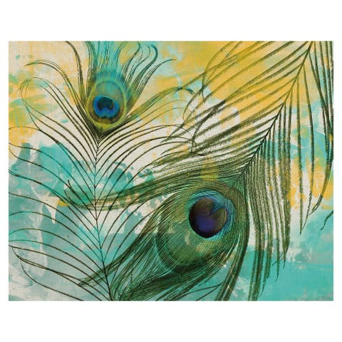 Masterpiece Art Gallery Painted Peacock Feathers Canvas Art Print