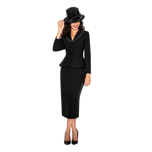 Giovanna Signature Women's Washable 2-piece Peplum Embellished Skirt Suit. Opens flyout.