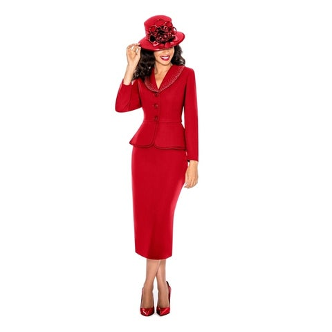 Giovanna Signature Womens Washable 2-piece Peplum Embellished Skirt Suit