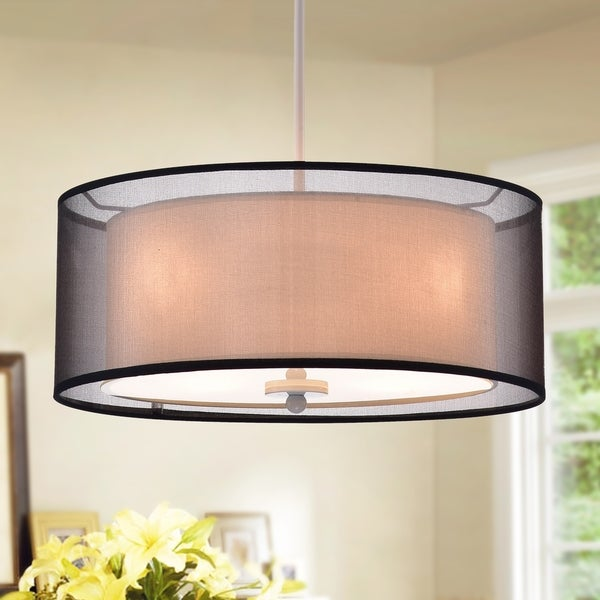 Artem 16 Inch Cynlindrical Pendant Lamp With Black Sheer Fabric Shade