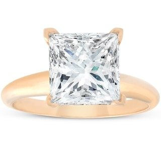 Pompeii3 14k Yellow Gold 5.06 ct Princess Cut Diamond Solitaire Engagement Ring Clarity Enhanced