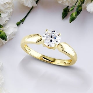 Moissanite by Miadora 14k Yellow Gold 1/2ct TGW Moissanite Solitaire Engagement Ring
