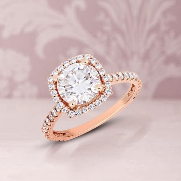 Miadora 2 1 2ct Dew Moissanite Halo Engagement Ring In 10k Rose Gold Overstock 24071310