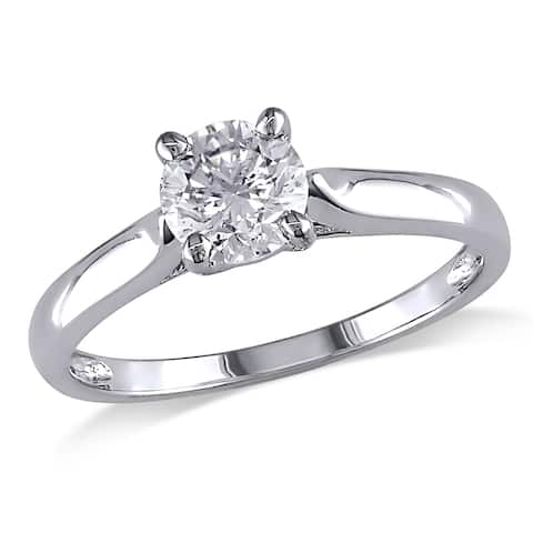 Miadora 1/2ct DEW Moissanite Solitaire Engagement Ring in 14k White Gold