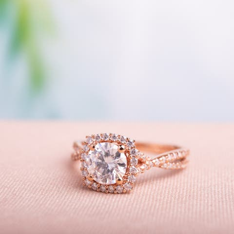 Moissanite by Miadora 10k Rose Gold Moissanite Halo Crossover Engagement Ring