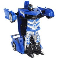 Battery Operated RC Remote Control 1:16 Scale Transforming Action Combat Robot Supercar with Working Headlights, Sounds