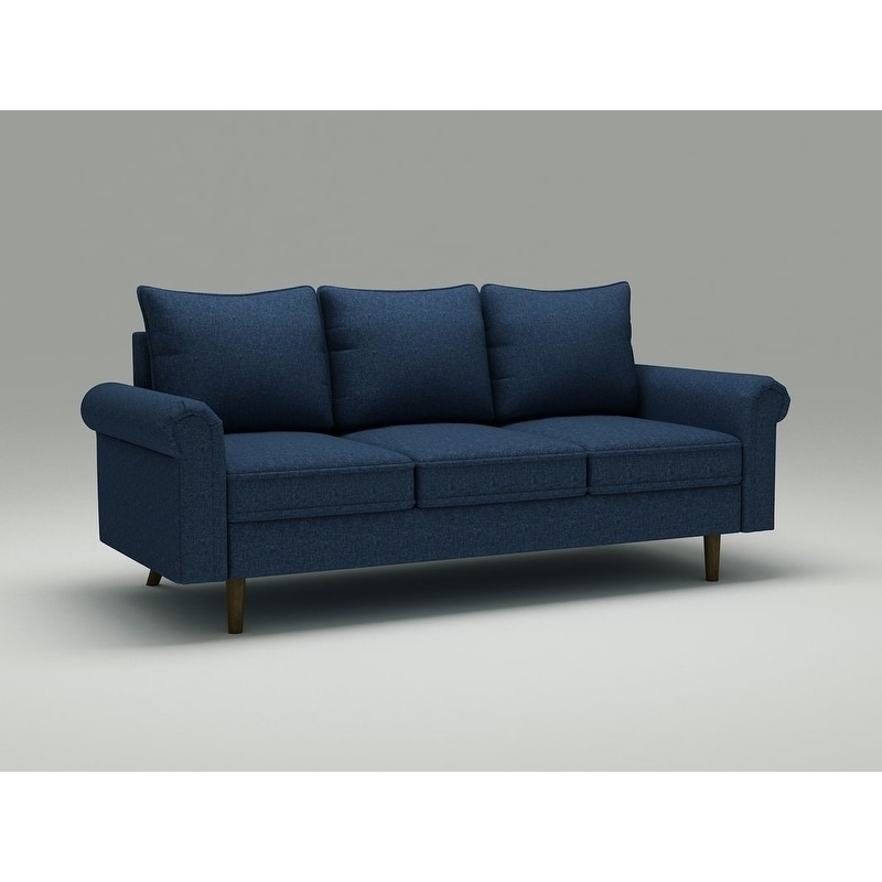 US Pride Furniture Rubi Blue Velvet and Wood Mid-century Modern Sofa