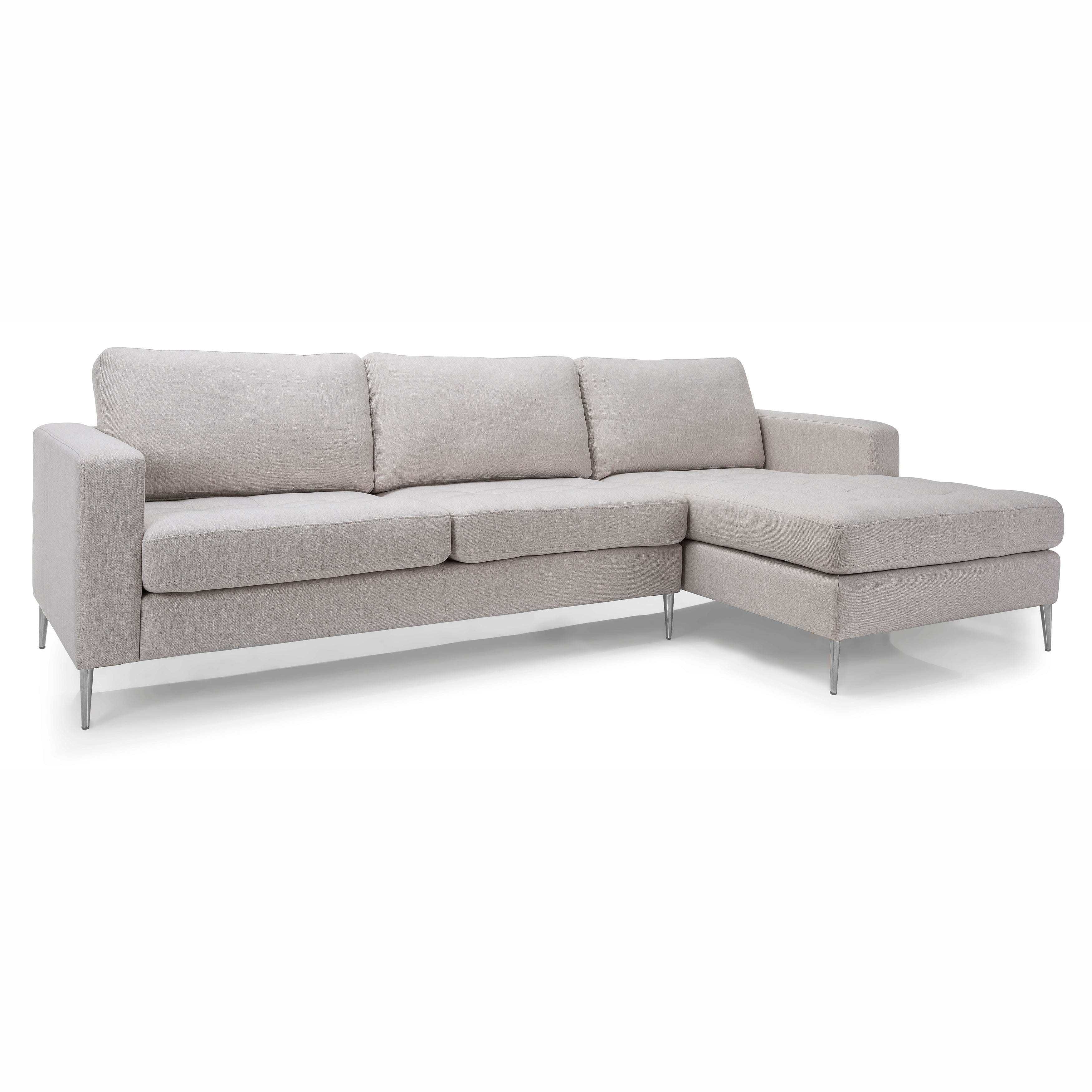 Jules Mid Century Modern Tufted Ivory Fabric Sectional Sofa